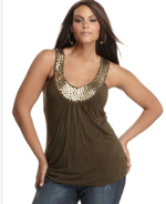 Plus Size Sexy Sequin Trimmed Tank Top