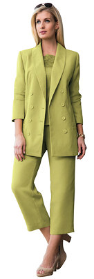 Lime Grren Double Breasted Plus Size Pantsuit