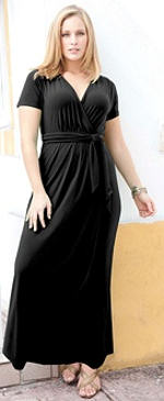 Faux Wrap Plus Size Maxi Dress