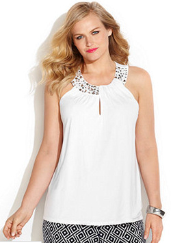 Embellished Plus Size Halter Top