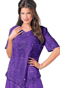 Plus Size Beaded PurpleTop