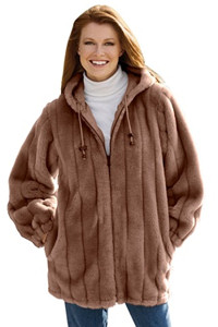 Plus Size Faux Fur Hooded Jacket