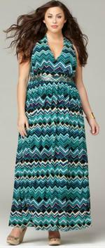 Horizontal Striped Plus Size Maxi Dress