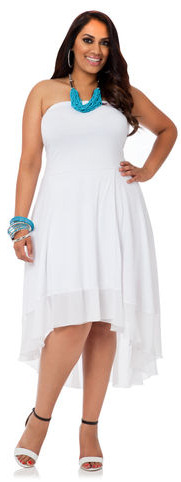 Plus Size Strapless White Dress