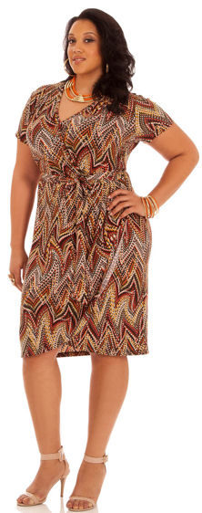 Plus Size Tribal Print Wrap Dress