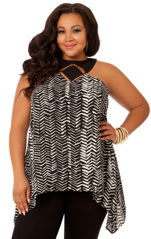 Sharkbite Hem Plus Size Halter Top