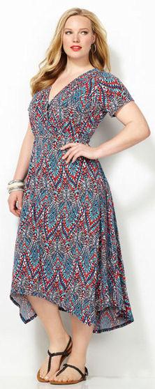 Abstract Print Sharkbite Hem Plus Size Spring Dress
