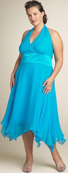 Plus Size Turquoise Blue Halter Cocktail Dress