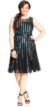 Plus Size Paneled Belted Cocktail Dress