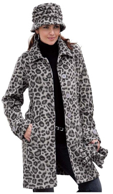 Black Leopard Print Big Button Fleece Jacket
