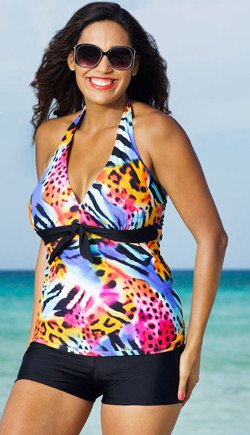 Plus Size Shortini with Halter Top