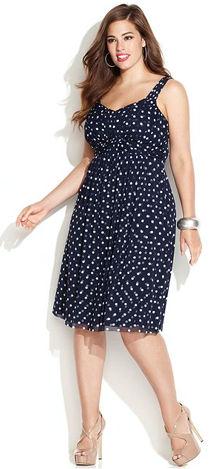Spring Polka Dot Plus Size Dress
