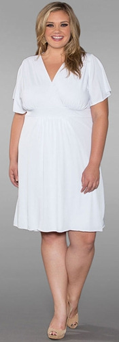Empire Waist Plus Size White Dress