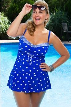Polka Dot Plus Size Swim Dress