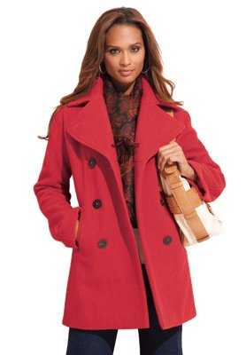 Red Plus Size Pea Coat