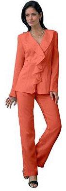 Ruffled Lapel Plus Size Pantsuit
