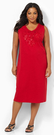 Sequin Trimmed Plus Size Red Dress